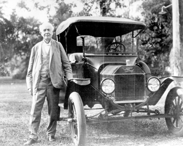 Thomas Edison's Model T Ford with tires made with goldenrod rubber.